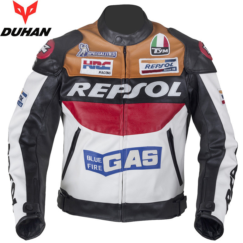 HOT SALE DUHAN motorcycle clothing moto racing suits REPSOL PU leather men motorbike Jac ...