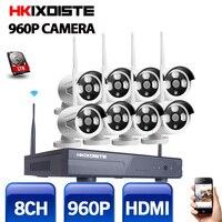 プラグ&プレイワイヤレス8ch cctvカメラシステムp2pワイヤレスnvr & ipカメラ960 p屋外弾丸wifi監視システムキットhd 1 t
