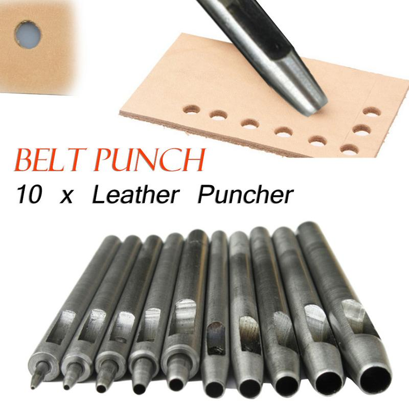 10pcs/set Leather Hole Punch Professional Puncher DIY Maker Tool for Belt, Saddle, Tack, Watch Strap, Shoe, Fabric10pcs/set Leather Hole Punch Professional Puncher DIY Maker Tool for Belt, Saddle, Tack, Watch Strap, Shoe, Fabric
