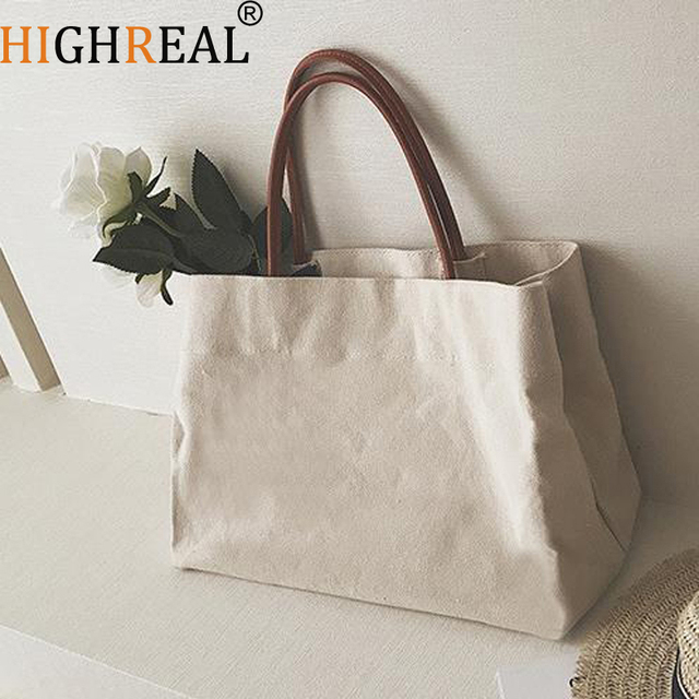 8f2f1c757 Large Shopping Bag Jumbo Canvas Totes Beach Bag Shoulder Bag Summer White  Casual Totes 2018 Fashion Beige White Color