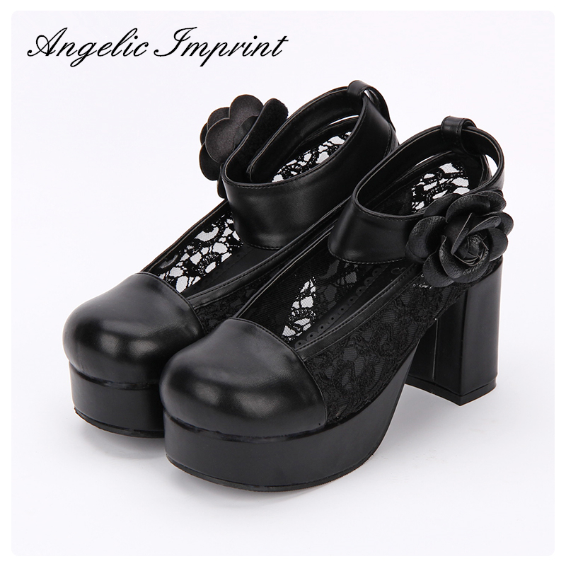 2018 Spring Sexy Black Lace Women's Pumps Chunky High Heel Thick Platform Lolita Cosplay Princess Shoes 2018 spring sweet bow elegant lolita cosplay shoes chunky high heel pumps princess party shoes
