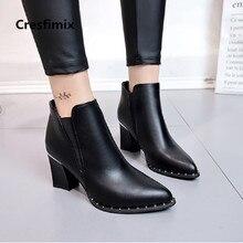 Cresfimix moda feminina confortável outono & inverno quente ankle martin botas lady casual doce botas de couro preto pu botas a2983
