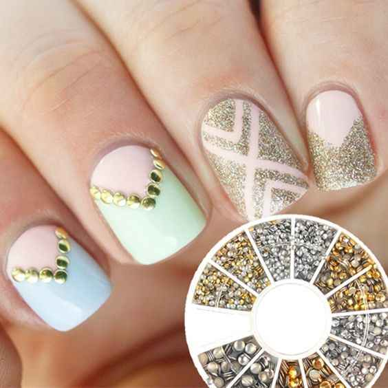 metal nail art decorations wheel with Rivet
