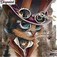 """Dispaint Full Square/Round Drill 5D DIY Diamond Painting """"Cartoon cat scenery"""" 3D Embroidery Cross Stitch 5D Home Decor A12185"""