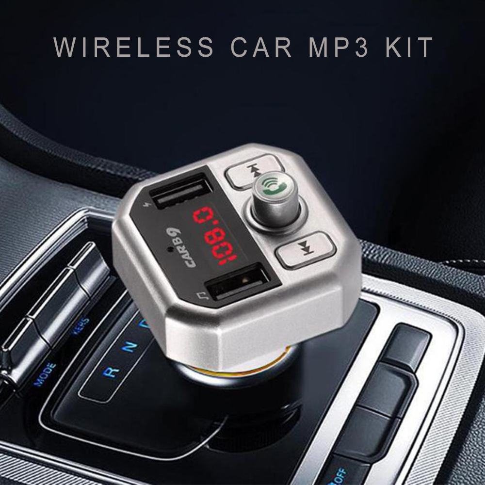 B9 Wireless Double USB Bluetooth MP3 Car Kit Hands-free Car Bluetooth FM Transmitter Radio USB Car MP3 With Mic With Package
