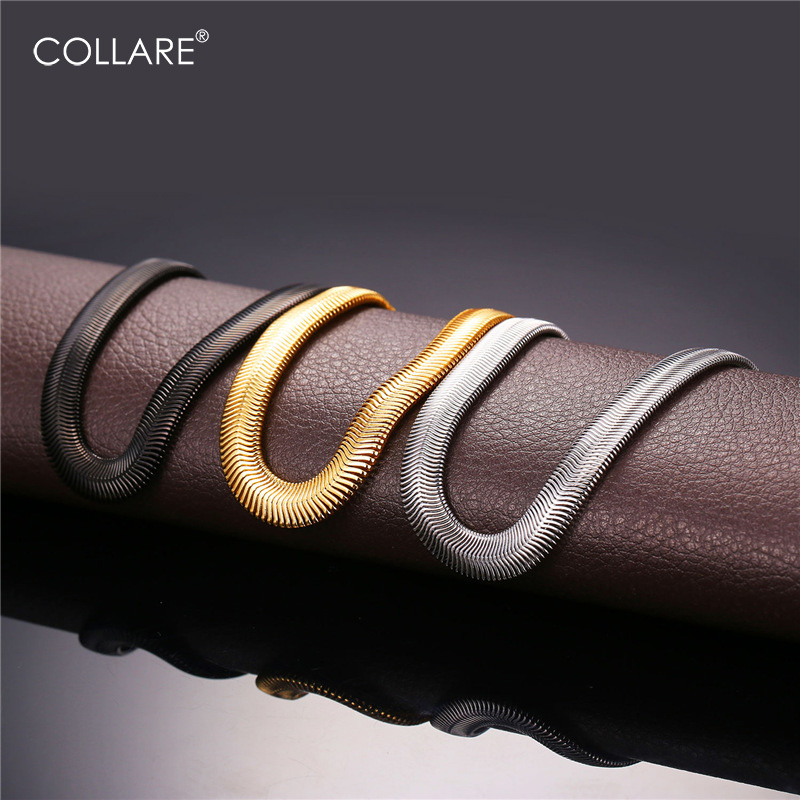 Collare 316L Stainless Steel Men Bracelet Gold Silver Black 8mm Width Snake Chain Hip Hop Men Fashion Jewelry Wholesale H169 shiying sl000088 fashion bible style 316l stainless steel bracelet for men black