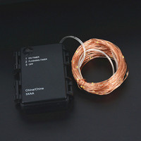 Waterproof Timer 33FT 10M 16 5FT 5M Battery Powered LED Copper Wire String Fairy Light Home