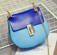 Spring and summer new candy color hit color stitching chain saddle bag, ladies new fashion shoulder diagonal cross bag