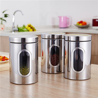 3Pcs Stainless Steel Tea Coffee Canisters Food Storage Jars Food Storage with Airtight Lid Pots Containers Tins Metal Case