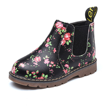 COZULMA Boys Girls Printed Martin Boots Baby Kids Winter Children Anti-skid Shoes Flowers Zipper Ankle