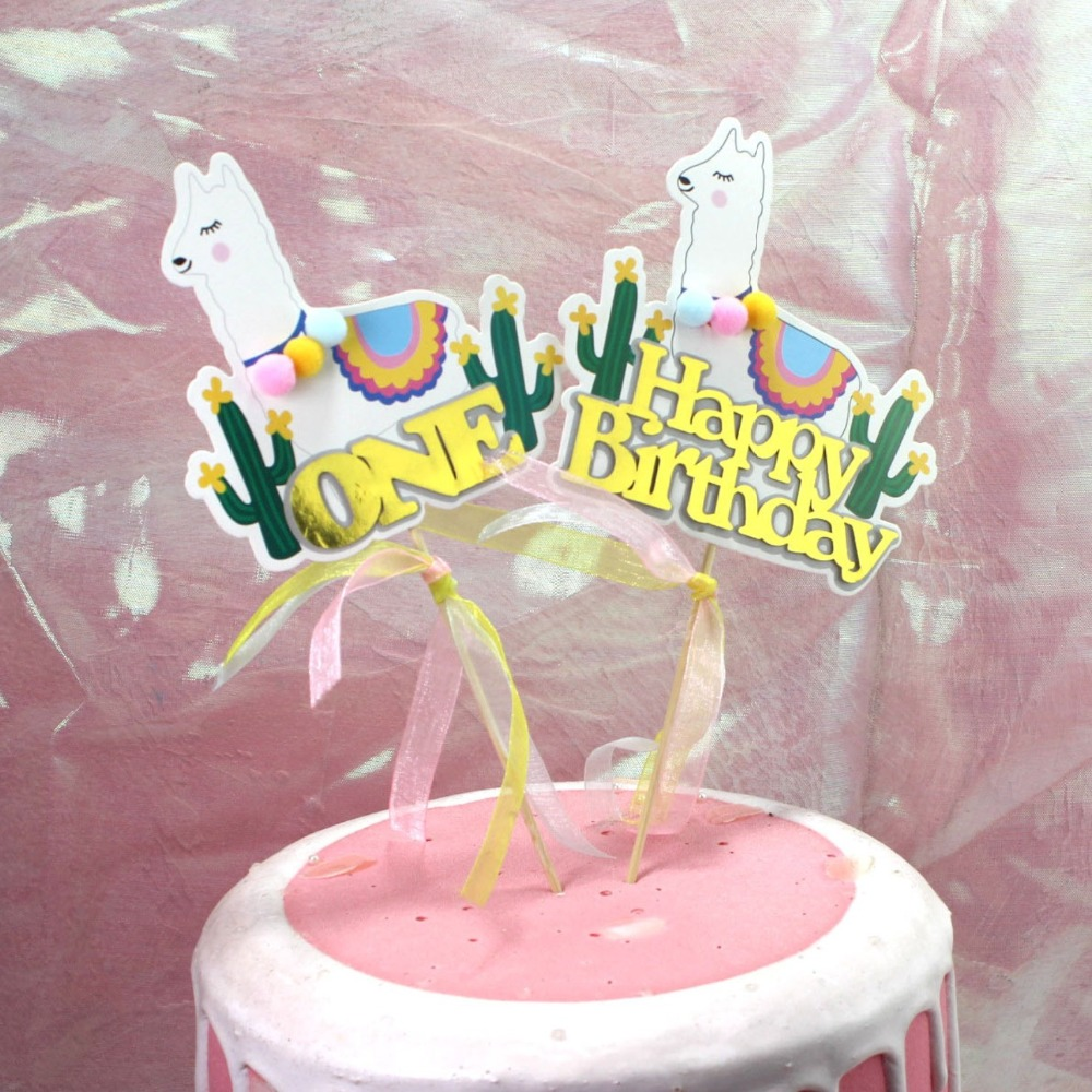 Stupendous 1Pcs Alpaca Happy Birthday Cake Topper Cake Flags Baby 1St Personalised Birthday Cards Veneteletsinfo