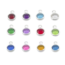 Wholesale 120pcs/lot mixed gold & silver Birthstone floating charms 6mm for Personalized Necklace with free ring(China)