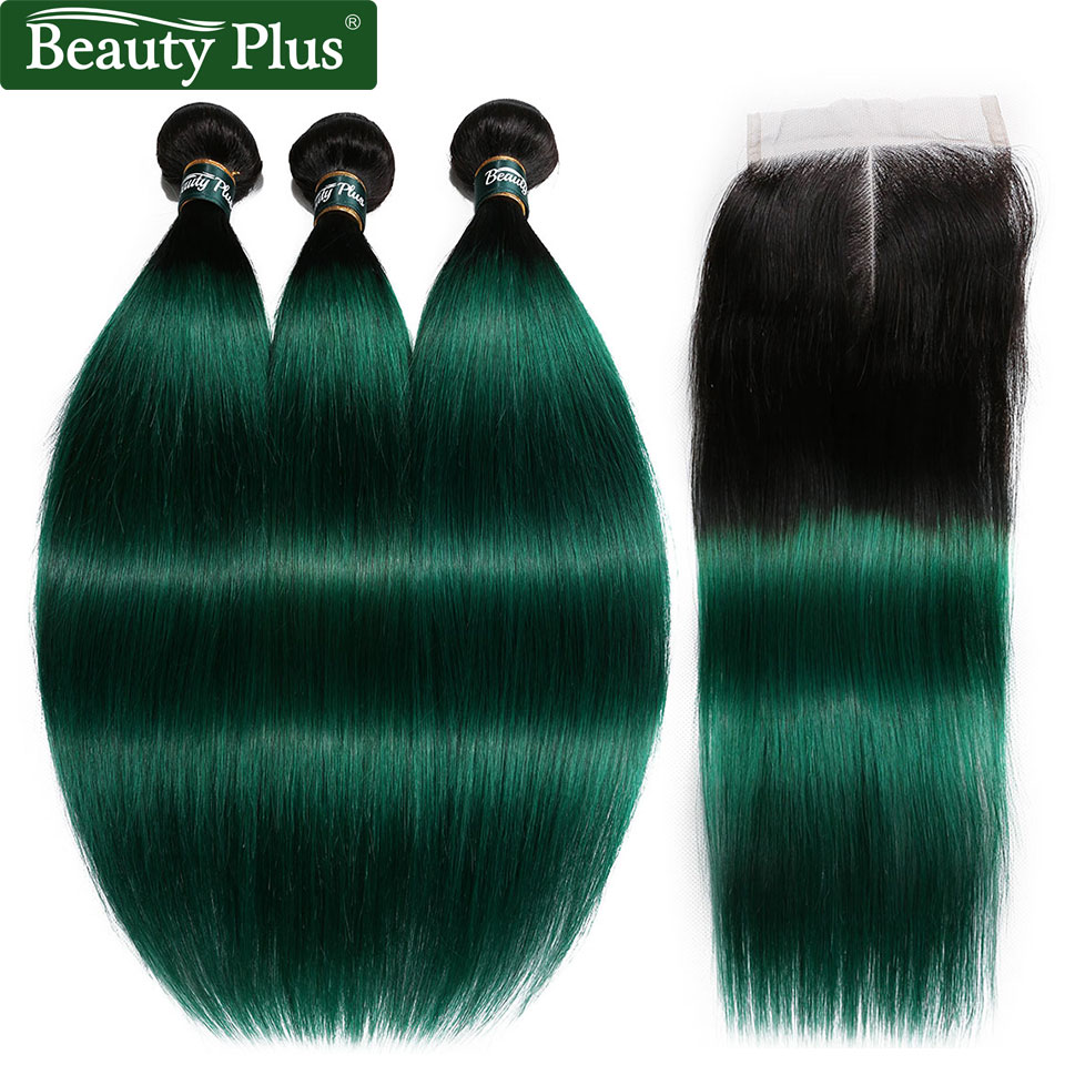 Green Bundles With Closure Straight Brazilian Hair Weave Bundles With Closure Ombre 3Pcs Non Remy For Black Women Beauty Plus