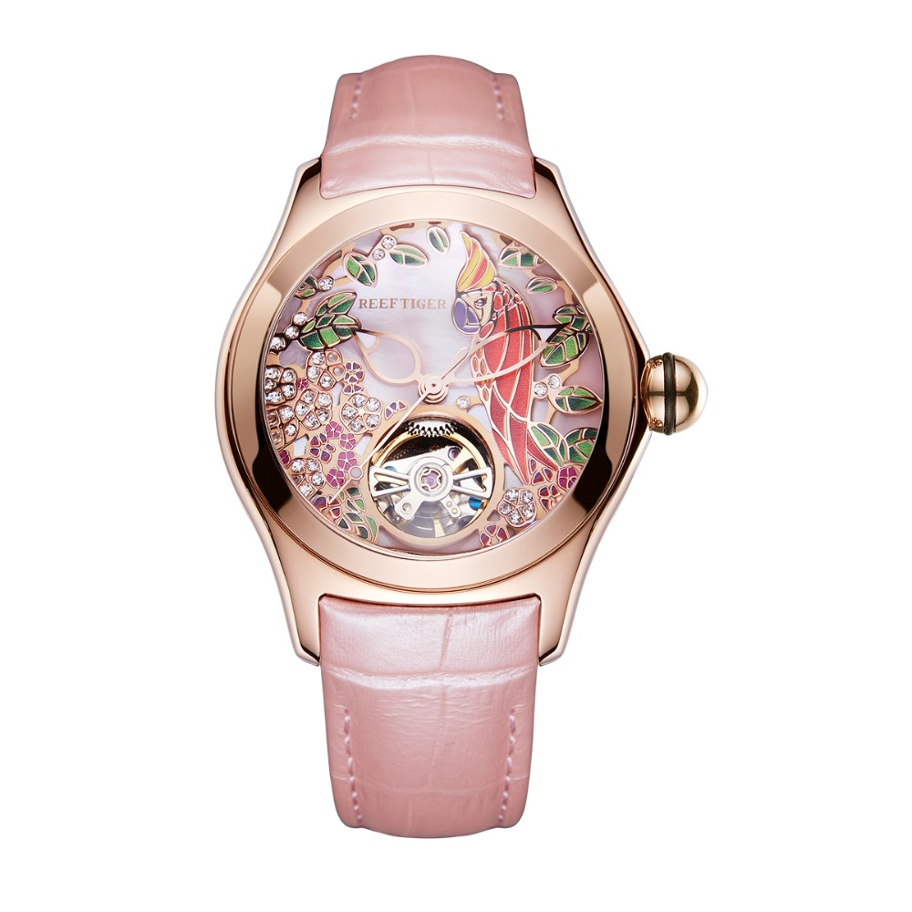 Image 4 - Reef Tiger Top Brand Luxury Women Watches Pink Dial Leather Strap Mechanical Watch Rose Gold Fashion Watch reloj mujer RGA7105Womens Watches   -