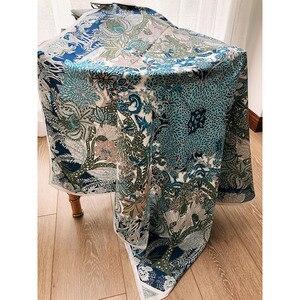 "Image 3 - מדהים כחול הדפסי 100% משי צעיף חיג אב ראש צעיפים לנשים אופנה צעיפי צעיף צעיף 35"""