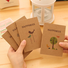 2pcs mini diy cute vintage birds and flower kraft notepad Happiness blank notebook planners