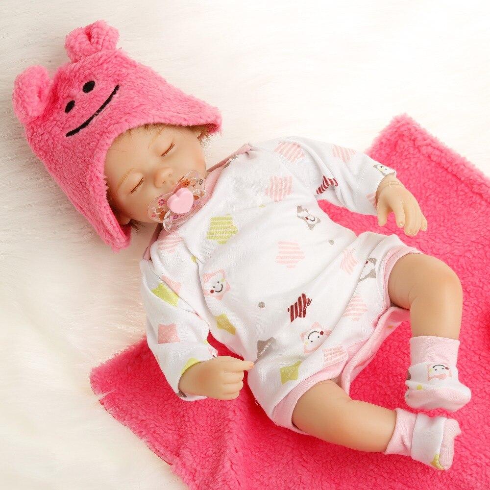 SanyDoll 16 pouces 40 cm Silicone bébé reborn poupées, poupée réaliste rose poupée cadeau d'anniversaire