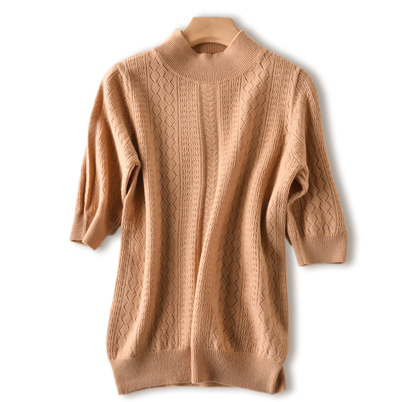Women s 100 Wool Half Turtleneck Short Sleeve Knitted Hallow Out T shirt Pullover Base Tee
