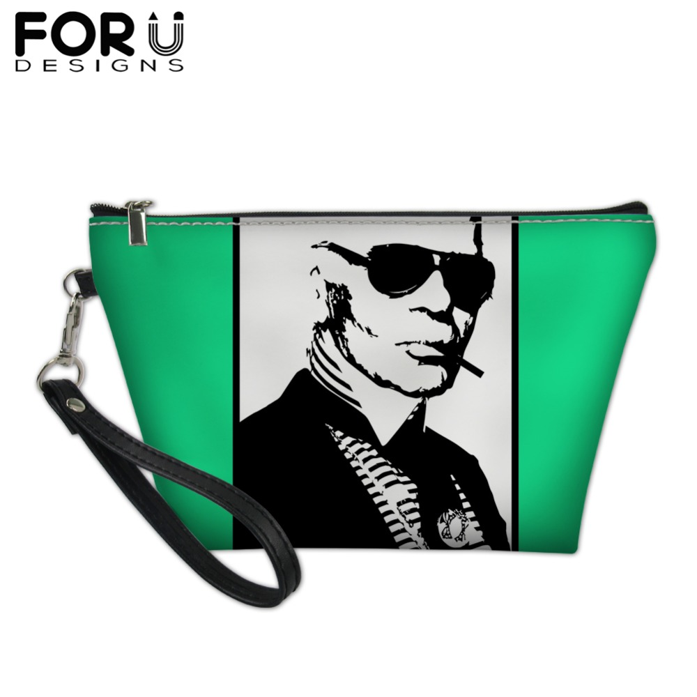 FORUDESIGNS Fashion Karl Lagerfelds Print Cosmetic Bag for Sex Woman Lady Customize Toilette Bag Makeup Bag Bolsos Mujer 2019 in Cosmetic Bags Cases from Luggage Bags