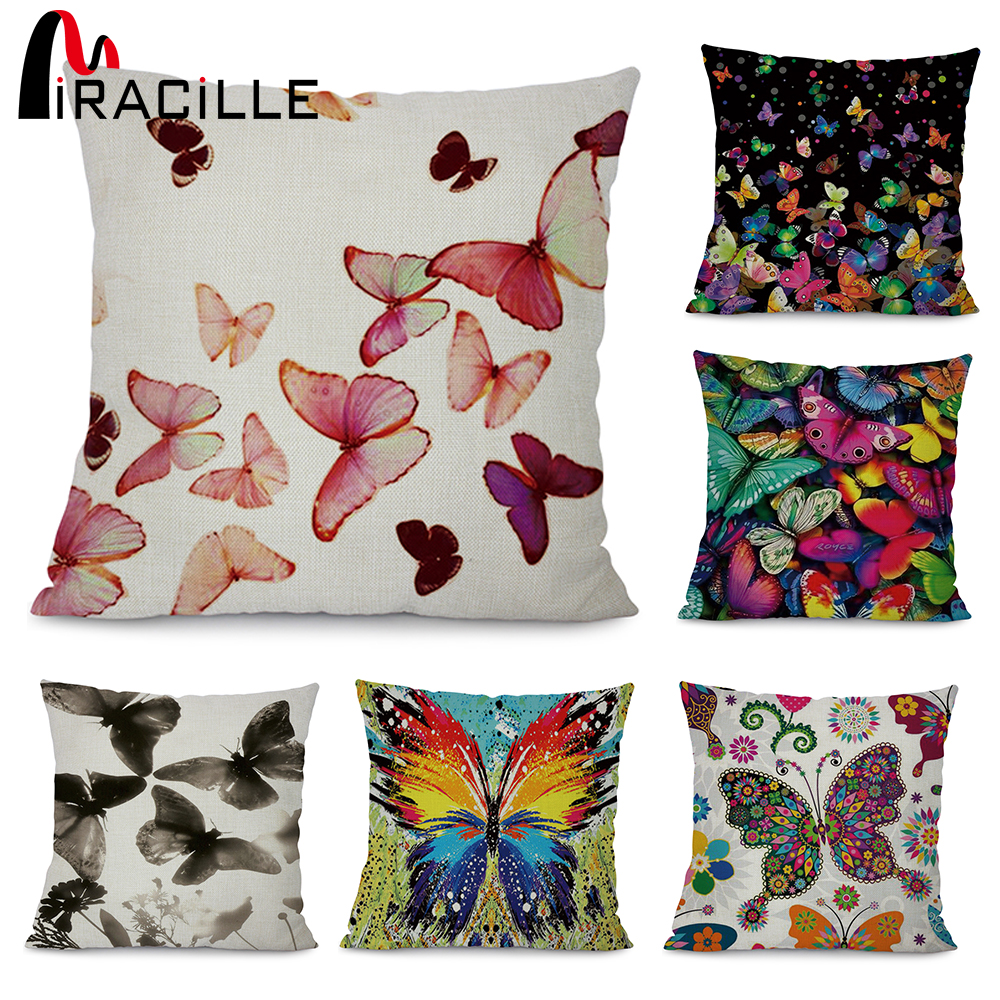 Miracille Colorful Butterfly Art Printed Cushion Cover Modern Home Garden Chair Decorative Pillowcase 45x45cm Living Room Decor ...