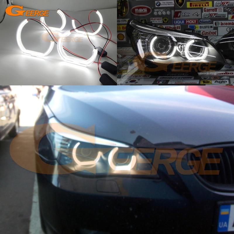 For BMW 5 SERIES E60 E61 LCI 525i 528i 530i 550i M5 2007-2010 Xenon headlight Ultra bright DRL DTM M4 Style led Angel Eyes kit car bumper grill kit with led fog lights drl angel eyes wires for bmw e60 e61 5 series 525i 530i 545i 550i xi 2004 2007 pdk618
