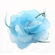 Невесты Голова Украшение Перо Органзы Розы Волос Группа Резинки Для Волос Волосы Цветок