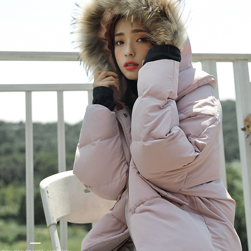 Lq017 En Chaud Col Fourrure Capuche Hiver Lâche Femmes Gray Coton Décontracté Amovible Mode Manteau Épais 2019 Veste pink De Nouvelle Des Court À zURPZw