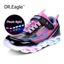 Девушки Дети свет led shoes спорт световой USB зарядка led shoes дети кроссовки с огнями 25-36