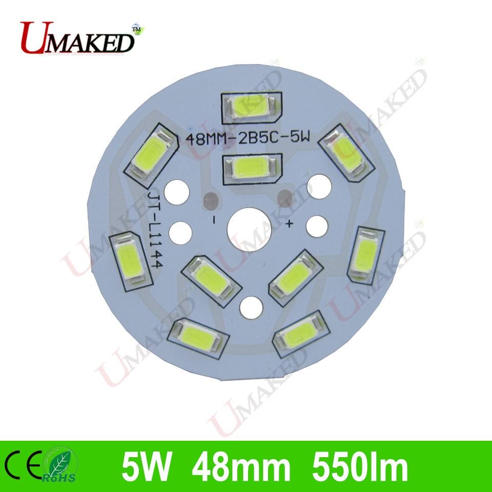 5W 48mm 550lm <font><b>LED</b></font> PCB with smd5730 chips installed, aluminum plate base for bulb light, ceiling light, <font><b>LED</b></font> lamps