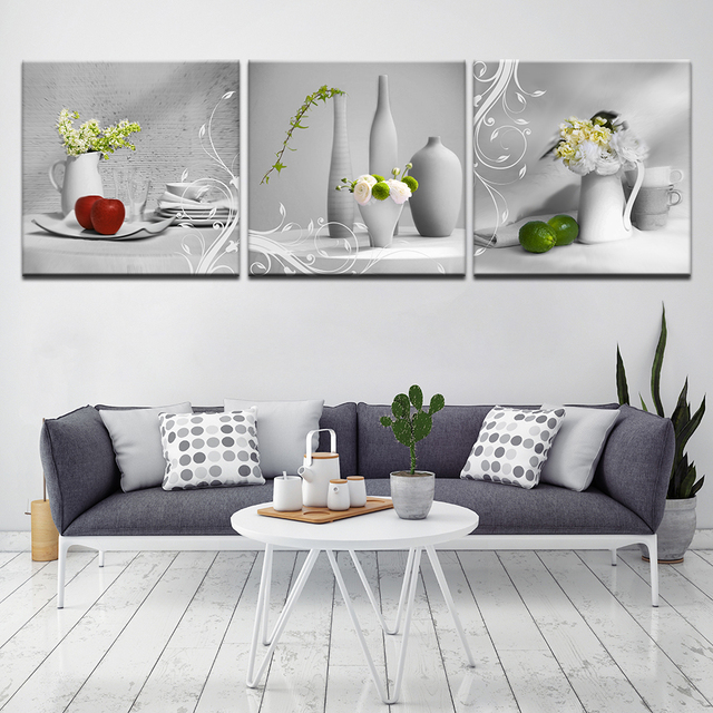 Us 4 08 40 Off Modern Kitchen Art Picture Painting Combination Food Oil Paintings Prints On Canvas No Frame 3 Panels Modular Artwork In Painting