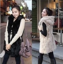2016 Winter Fashion Fake Fur Waistcoat for Women Rabbit fur Vest Coat With hooded Long Waistcoat Jacket Outwear big size XQ606