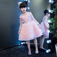 Вышивка детская бальное платье 2018 новое платье принцессы для девочек свадебные платья на шнуровке Причастие Платья для вечеринок для торже