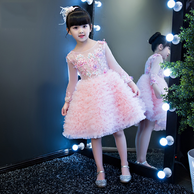 Embroidery Childrens Ball Gown Dress 2018 New Princess Girls Wedding Gowns Lace Up Communion Party Dresses Banquet Clothes F588Embroidery Childrens Ball Gown Dress 2018 New Princess Girls Wedding Gowns Lace Up Communion Party Dresses Banquet Clothes F588