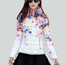 womens winter coats 2016 winter print down jacket ladies cotton-padded jacket short design  slim waist flower wadded jacket