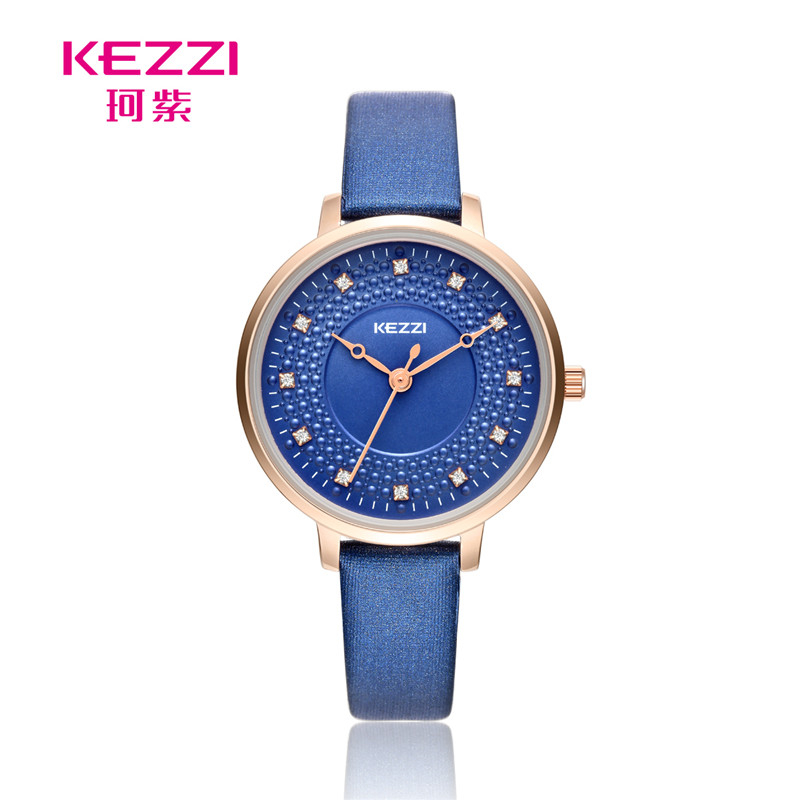 KEZZI Brand Women's Leather Strap Wrist Watches Fashion Inlay Rhinestone Simple Dial Japan Movement Quartz Ladies Watch k1735 new arrival kezzi brand leather strap ladies watch fashion analog japan movement waterproof quartz watch wrist watches for men