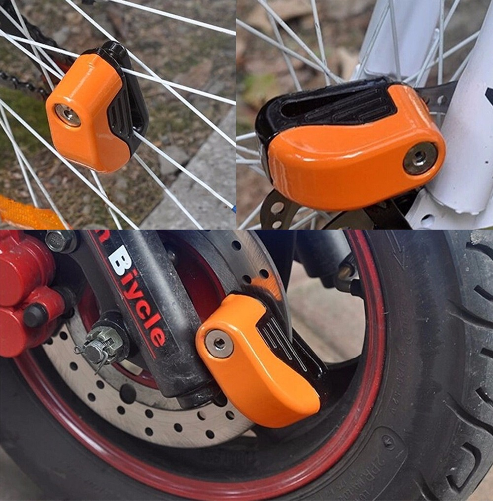 (US STORE) 6mm Security Motorcycle Bike Alarm Sturdy Wheel Disc Brake Lock Bike Safety Alarm with Battery And keys