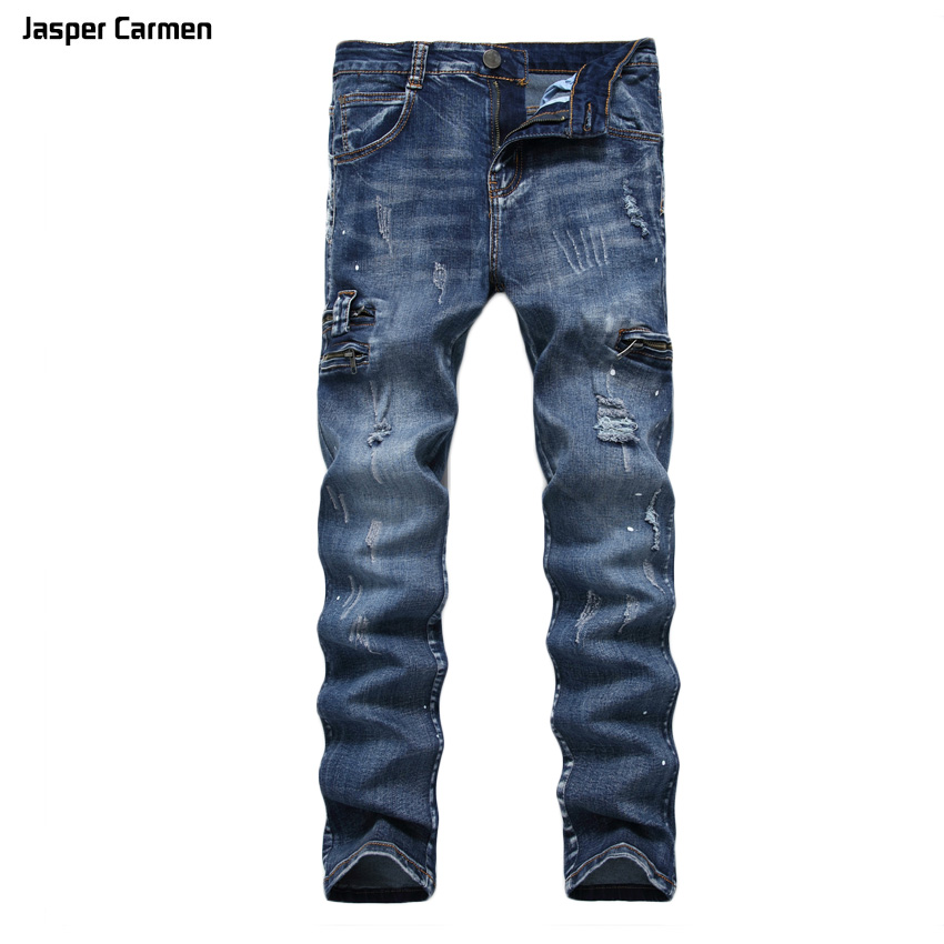 Jasper Carmen 2017 Men high-quality stretch jeans variety of color zipper Slim printing light gray trousers mlid hole length 68 kent jasper twelve