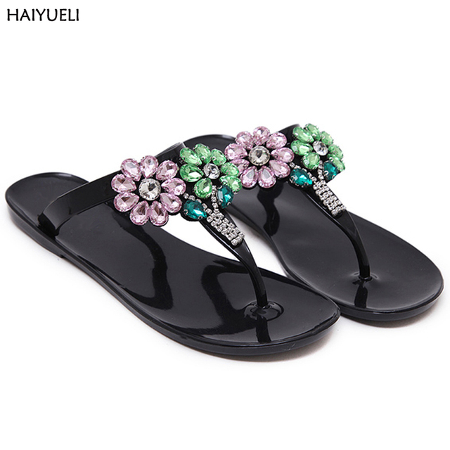 90199d3f01cc1 Summer Flip Flops Women Flat Sandals Women Slippers Beach Flip Flops With  Rhinestones Transparent Plastic Shoes Jelly Sandals