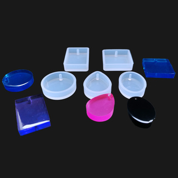 5PCS/LOT Round Square Oval Waterdrop Rectangle Shape Hole Silicone Mold DIY Craft Epoxy Resin Molds Necklaces Pendant Mould