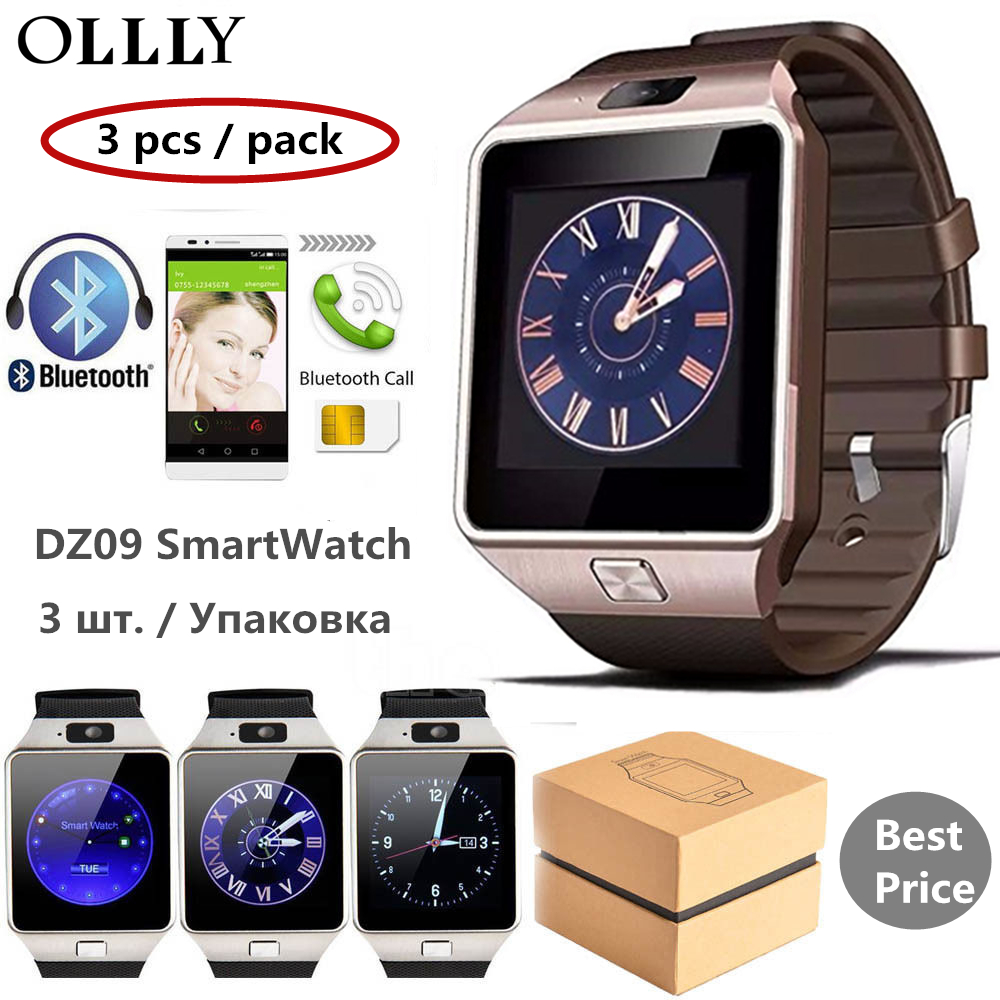 3Pcs Smart Watch DZ09 SIM Watch Smartwatch Support TF Card For Android Phone Man Camera Women