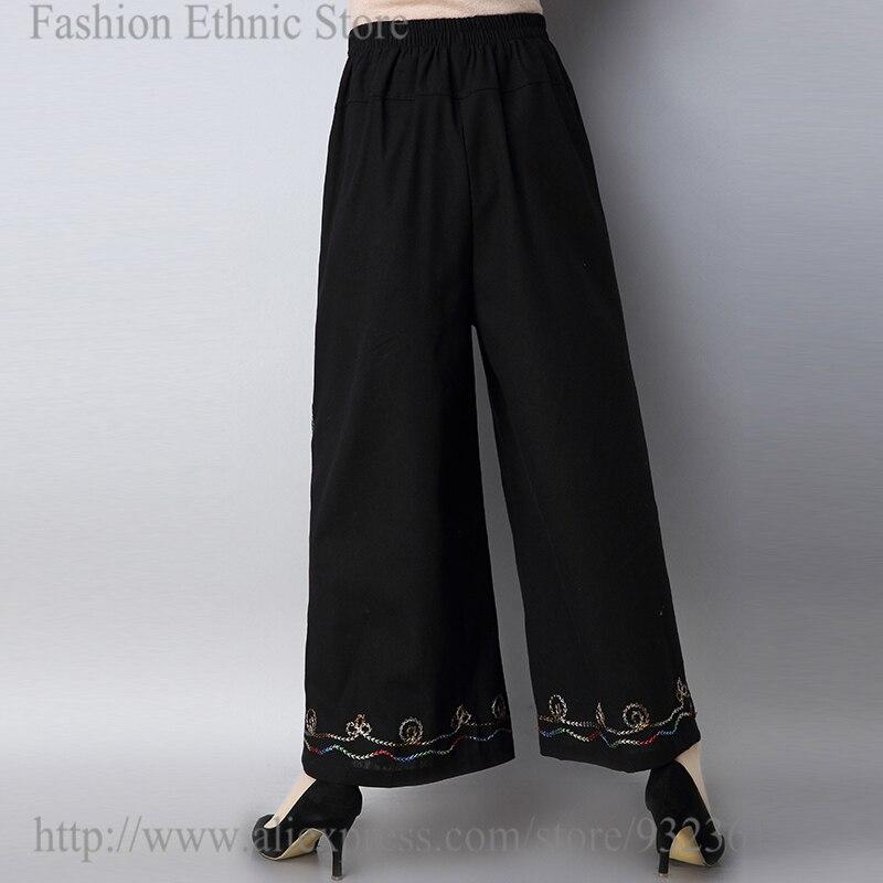 Vintage Floral bordado Pantalón ancho pantalones sueltos mujeres Pantalones  negro pantalones pantalon femme alca feminina 2018 en Pantalones y Capris  de La ... fc642f8391c9