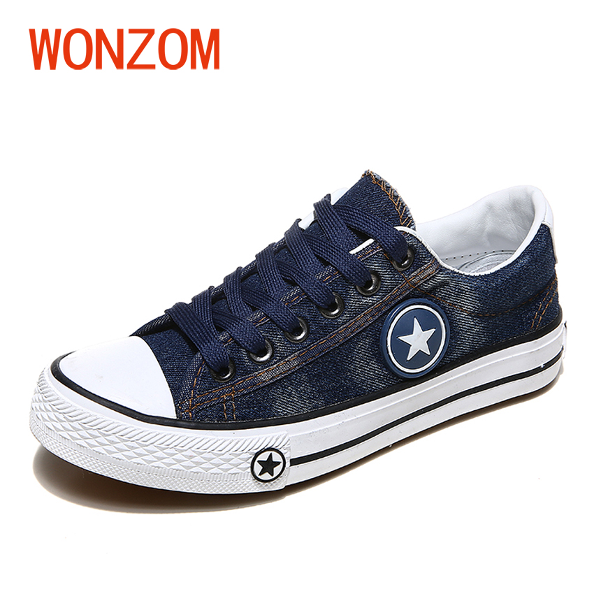 WONZOM 2018 New Spring Summer Women Casual Blue Denim Canvas Shoes New Fashion Flats Star Tenis Chaussure Femmes Size 35-40 free shipping new spring and summer fashion men s denim jeans slim wear white pantyhose feet