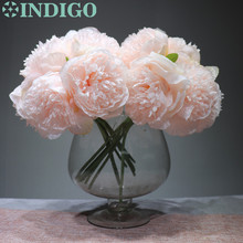7pcs/Bundle Chinese Herbaceous Creamy White Peony Bouquet Decorative Silk Flower Faux Wedding Party Free Shipping