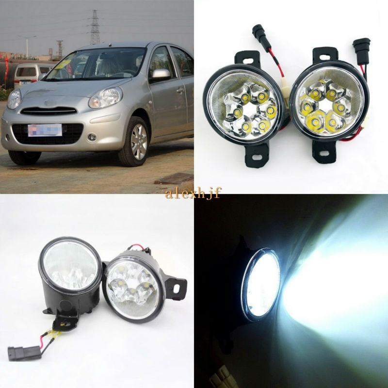 July King 18W 6LEDs H11 LED Fog Lamp Assembly Case for Nissan March 2010~ON,  6500K 1260LM LED Daytime Running Lights july king 18w 6leds h11 led fog lamp assembly case for nissan versa 2012 on 6500k 1260lm led daytime running lights