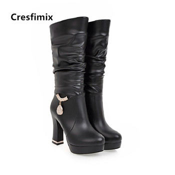 Black Faux Suede Boots | Cresfimix Vrouwen Laarzen Women Fashion White Pu Leather High Heel Boots Lady Casual Black Autumn Boots Winter Boots B6024