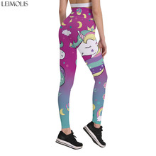 31cc4e975eed2 LEIMOLIS 3d print pink unicorn rainbow star gothic casual workout high  waist push up sexy fitness