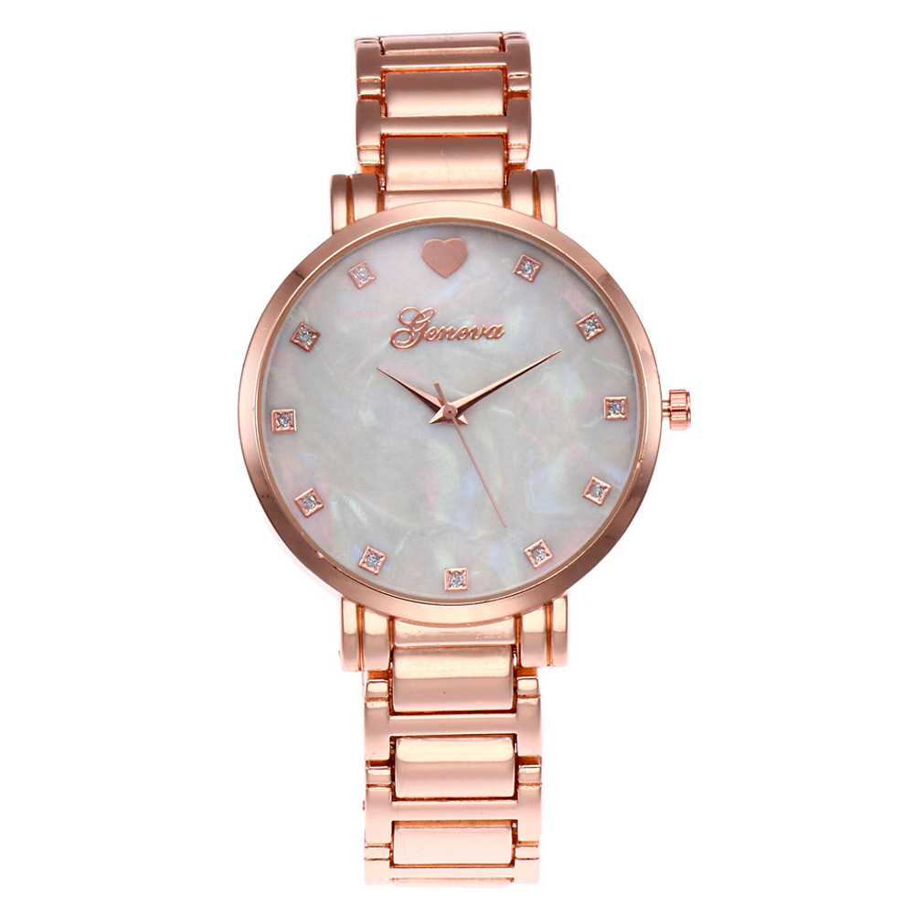 New Stainless Steel Women Wrist Watch Mother of Pearl Dial Watch Gold Geneva Watch Luxury Quartz Watches Relogio Feminino geneva men s large dial cool quartz stainless steel business wrist watch