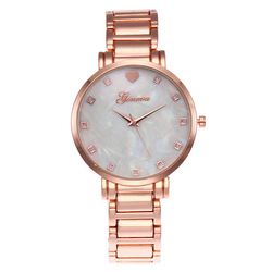 New Stainless Steel Women Wrist Watch Mother of Pearl Dial Watch Gold Geneva Watch Luxury Quartz Watches Relogio Feminino