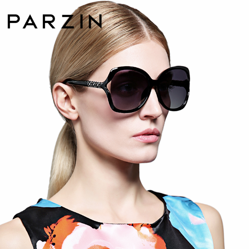 PARZIN New Arrival TR90 Women Polarized Sunglasses Hollow Big Frame Rhinestones Leg Fashion Sunglasses Eyewear Accessories