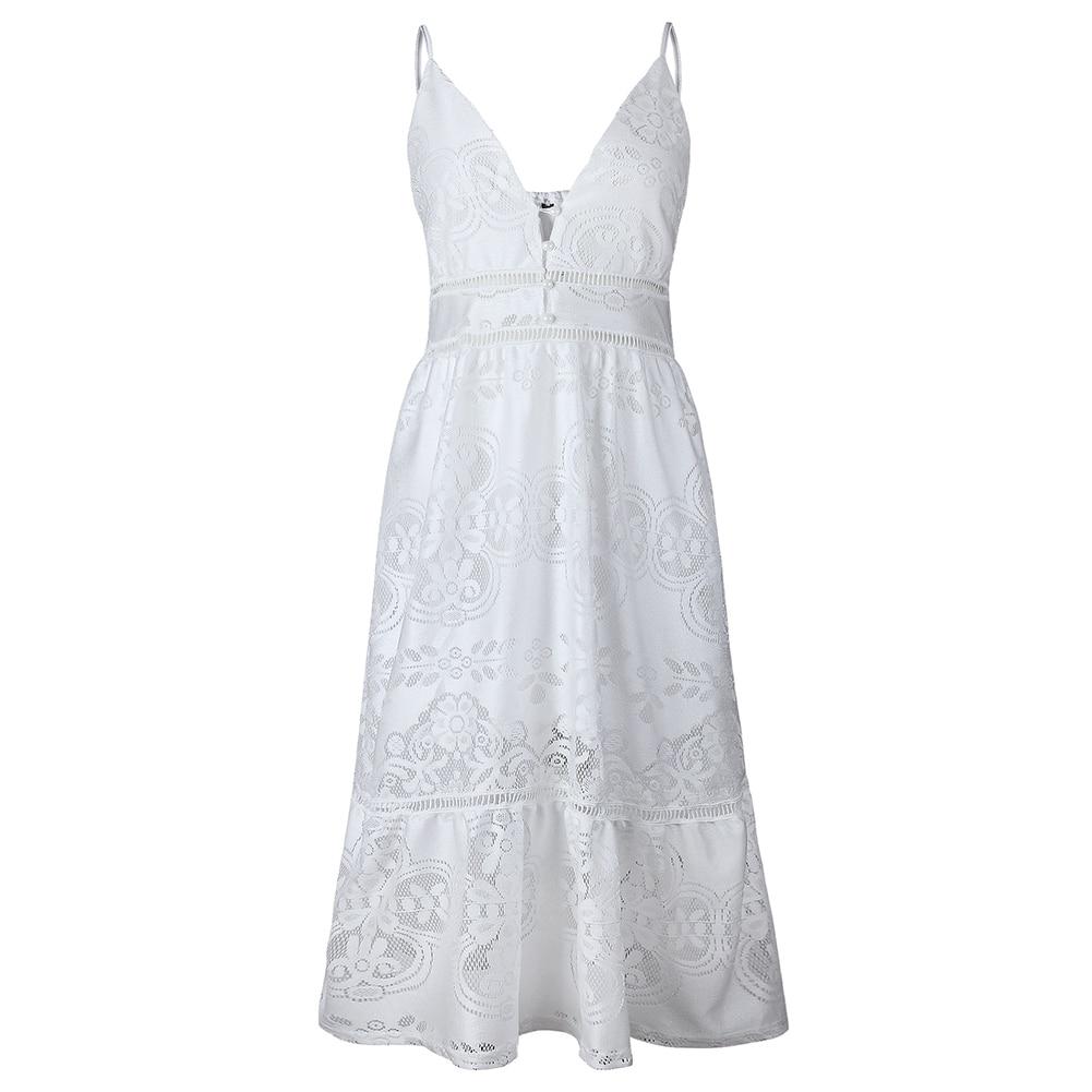 Women Spring Summer  Spaghetti Strap Maxi Beach Sundress Deep V-neck Sleeveless Button Lace Crochet Long Formal Dress